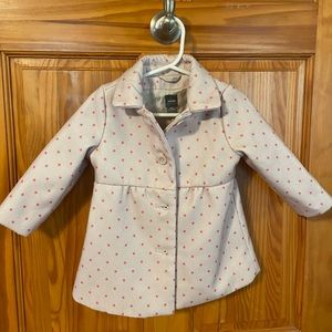 Baby GAP white and pink star patterned pea coat🌸